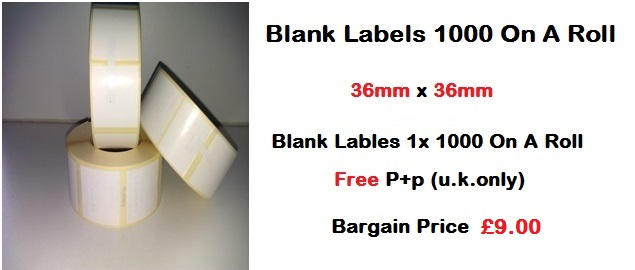 Blank Labels 1000 On A Roll 36mm x 36mm