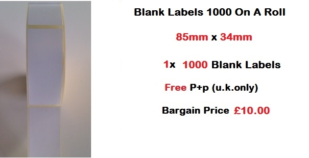 Blank Labels 1000 On A Roll 85mm x 34mm