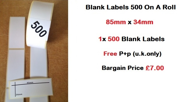 Blank Labels 500 On A Roll 85mm x 34mm