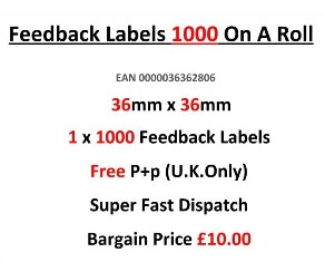 Feedback Labels 1000 On A Roll 36mm x 36mm