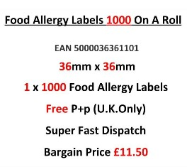 Food Allergy Labels 1000 On A Roll
