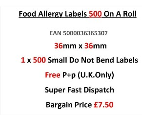 Food Allergy Labels 500 On A Roll 36mm x 36mm