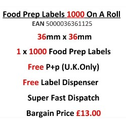 Food Preparation Labels 1000 On A Roll in Red 36mm x 36m