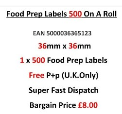 Food Preparation Labels 500 On A Roll in Red 36mm x 36mm