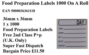 Food Preparation Labels 1000 On A Roll 36mm x 36mm