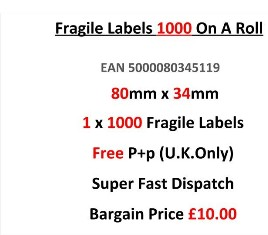 Fragile Labels 1000 On A Roll 80mm x 34mm