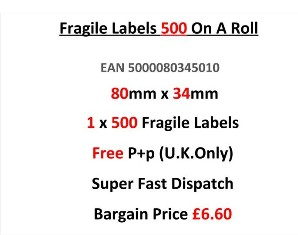 Fragile Labels 500 On A Roll 80mm x 34mm