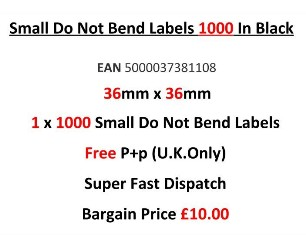 Small Do Not Bend Labels In Black 36mm x 36mm