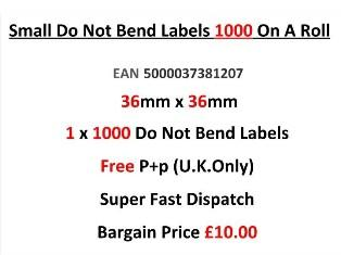 Small Do Not Bend Labels In Red 36mm x 36mm