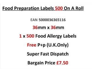 Food Preparation Labels 500 On A Roll 36mm x 36mm